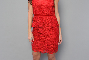 Womens red strapless dress