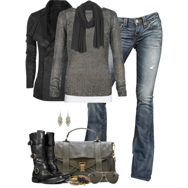 cute winter gray outfit idea
