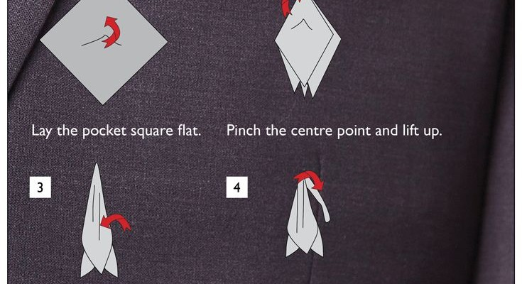 how to wear a tuxedo pocket square