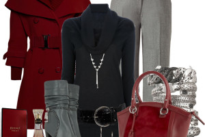 red and black work outfit idea