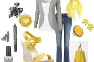 outfit ideas with yellow gray casual outfit