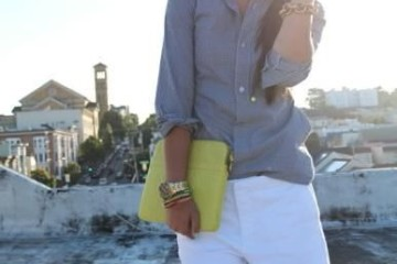30 days of summer outfit 3 white shorts and dark blouse with yellow sunhat