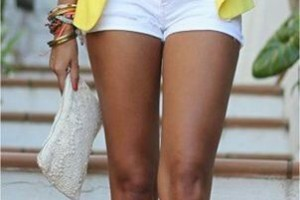 30 days of summer outfit idea 6 yellow cardigan and white shorts