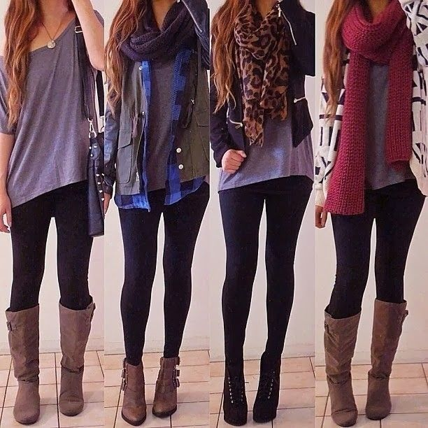 4 Outfit Ideas with Leggings and Scarves