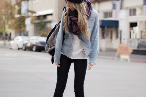 Classy outfit idea style with skinny jeans and combat boots