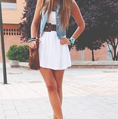 Cute white dress outfit idea with a jean vest