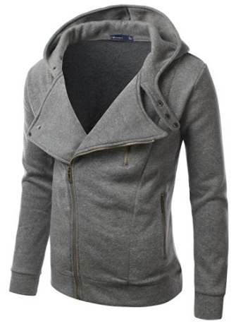 Doublju Mens Rider Hood Asymmetry Zip Up
