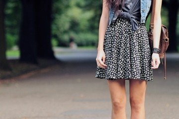 Flowery dress outfit idea with a jean vest