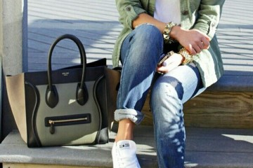 Green Outfit Idea with Converse Shoes