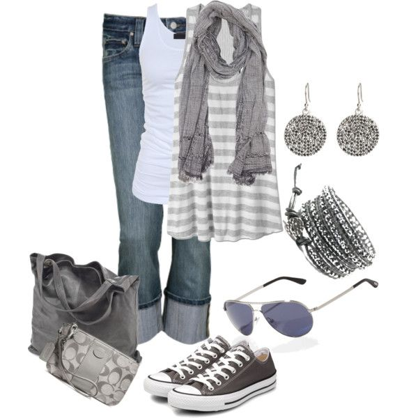 b5c952d105d0 Grey Outfit Style Idea with Converse and Shades