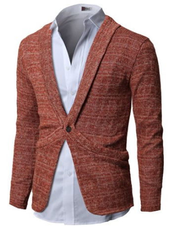 H2H Mens Cardigan Sweaters with One Button Shawl Collar