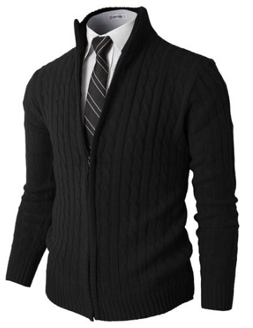 OutfitIdeasHQH2H Mens Slim Fit Full-zip Kintted Cardigan Sweaters with Twist Patterned