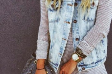 Sweater Outfit Idea with a Jean Vest