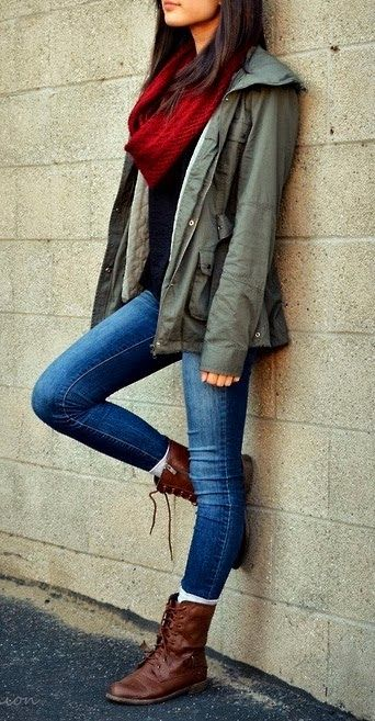 Vintage Style with Red Combat Boots