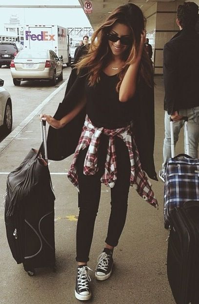 Black and Red Outfit Idea with Converse