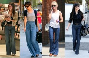 celebrities wearing wide legged jeans