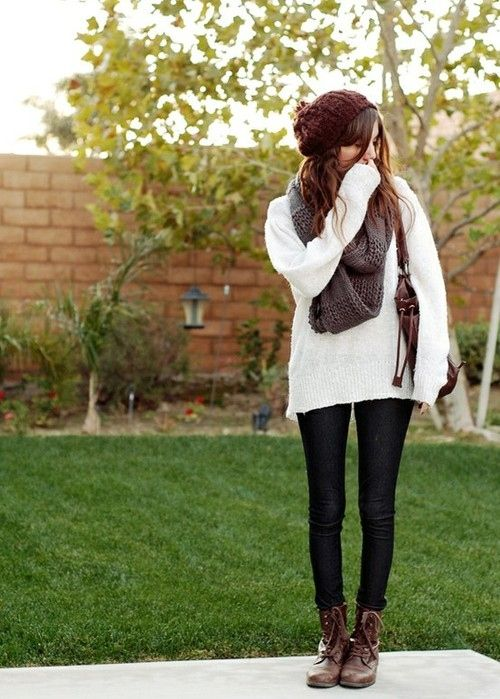 Cute Casual Outfit Idea with Leggings Combat Boots and Scarf