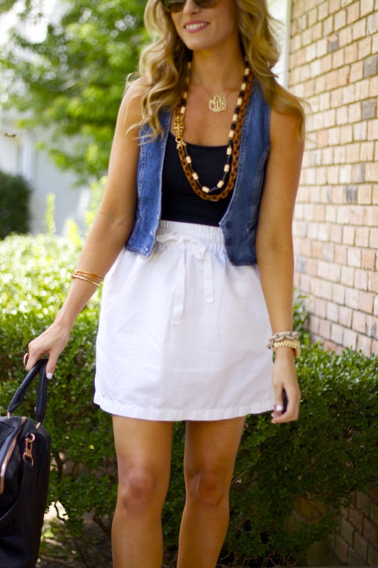 cute classy outfit idea with a jean vest