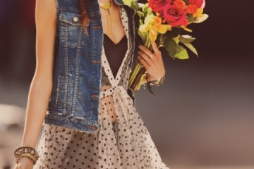 cute polka dot dress with a jean vest