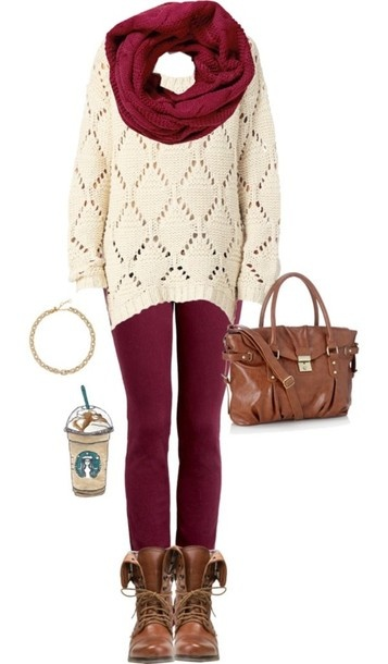 - Red Holiday Outfit With Leggings And Combat Boots