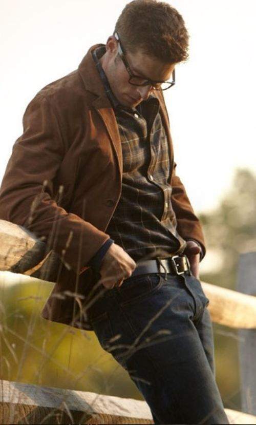mens brown blazer with brown plaid shirt outfit idea
