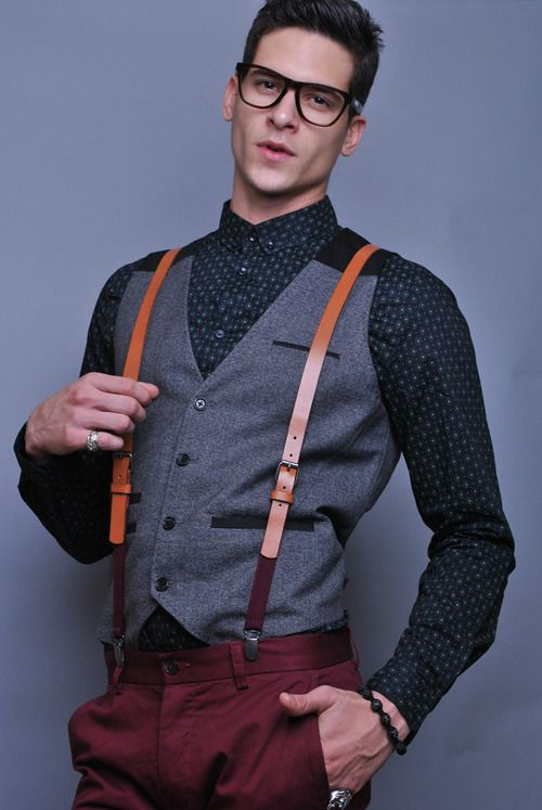mens leather suspenders fashion 12