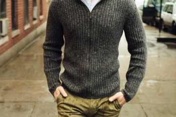 men's zipper mock neck sweater outfit idea
