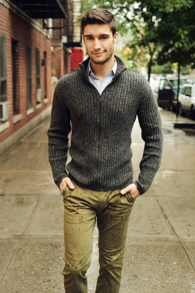 Zipper Mock Neck Sweater Outfit Idea