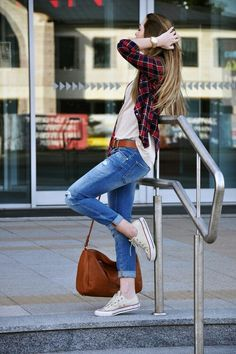 sexy plaid outfit with converse shoes