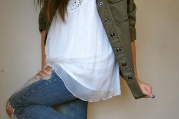 vintage girly outfit idea with combat boots