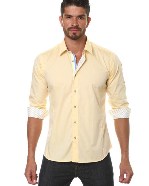 men's yellow dress shirt outfit idea 5
