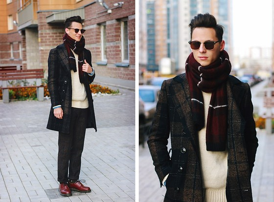 How Comfortable looking Is This Look A Tartan Coat Knit Sweater