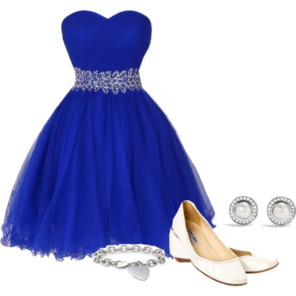 Royal Blue Dress With Red Shoes