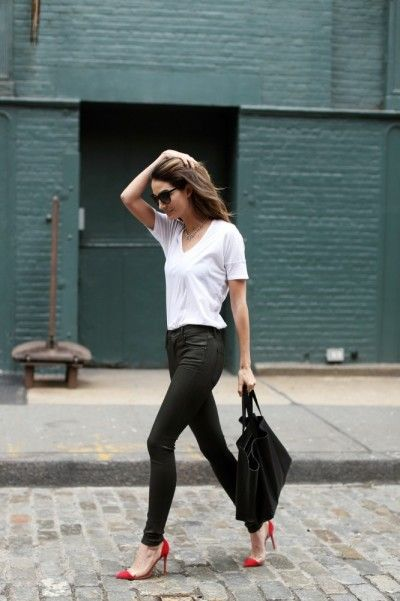 styling plain white tee shirt 5 - Outfit Ideas HQ 26c12eb520