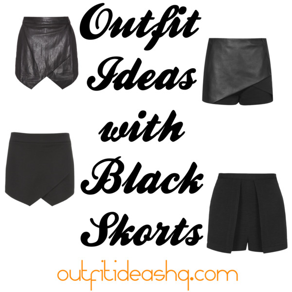 outfit ideas with black skorts 11