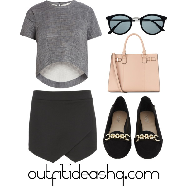 outfit ideas with black skorts 3