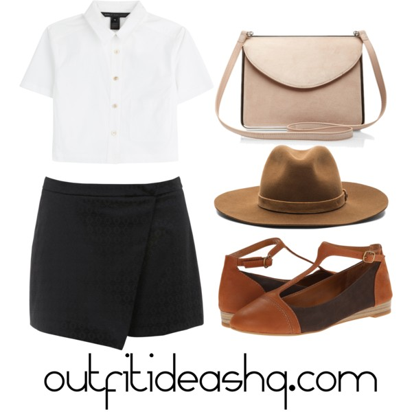 outfit ideas with black skorts 6