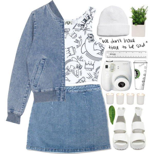 how to wear denim mini skirt outfit ideas 10