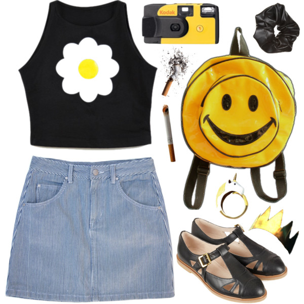 how to wear denim mini skirt outfit ideas 5