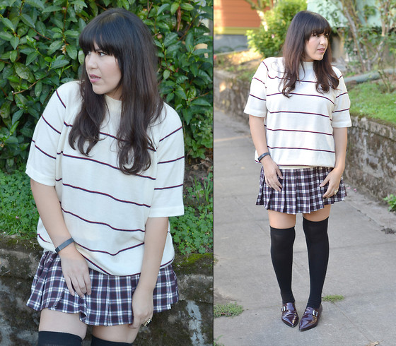 plaid and stripes outfit ideas 1
