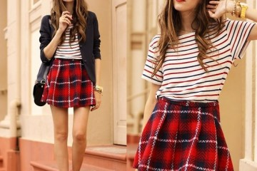 plaid and stripes outfit ideas 6
