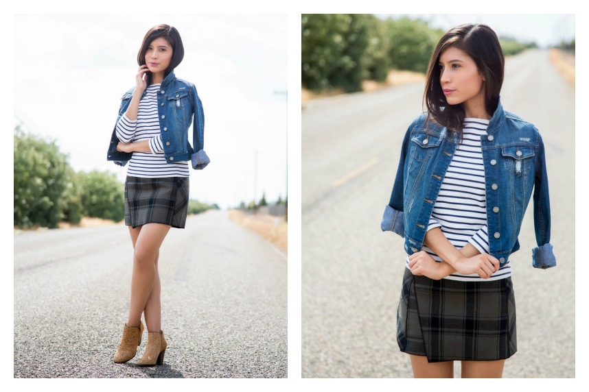 plaid and stripes outfit ideas 8