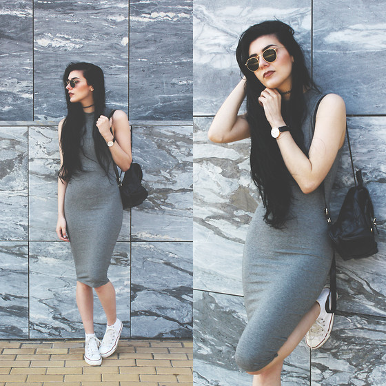 Gray Casual Dress