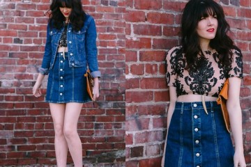 denim skirts with clogs wedges sandals outfit ideas 1