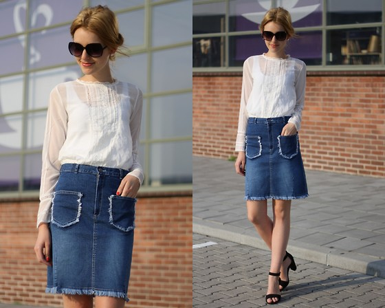 denim skirts with clogs wedges sandals outfit ideas 10