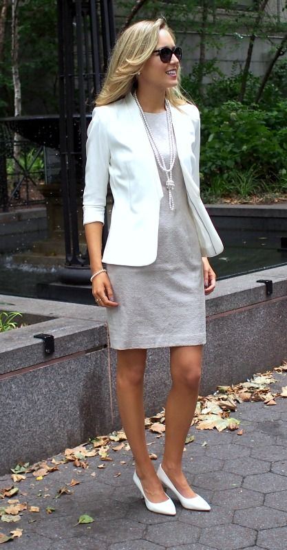 10a6126dc97 OLYMPUS DIGITAL CAMERA Take over corporate America with a little gray dress  with white blazer and white kitten heels. easy professional outfit ideas 9