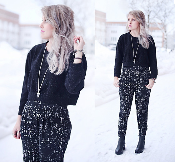 outfit ideas with the classic black sweater 3