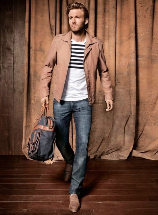 Brown leather jacket outfit ideas men