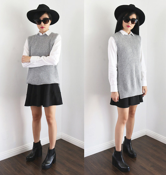 outfit ideas in black, white and gray 1