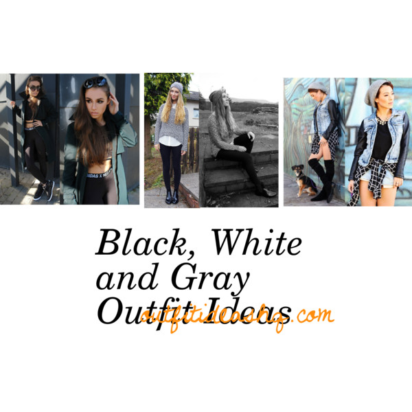 outfit ideas in black, white and gray 11